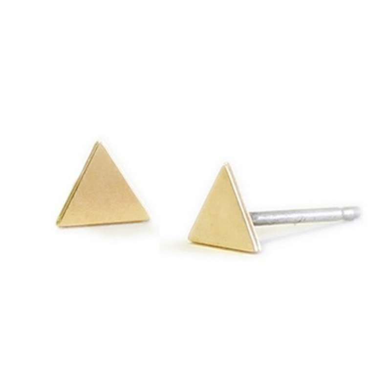 Kris Nations Triangle Stud Earrings in Gold