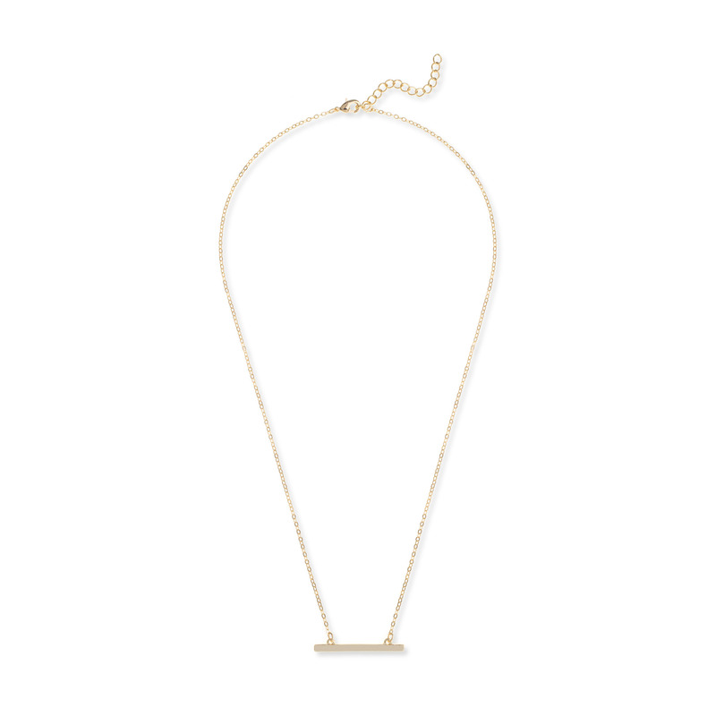 Jill Michael Straight Bar Necklace in Gold