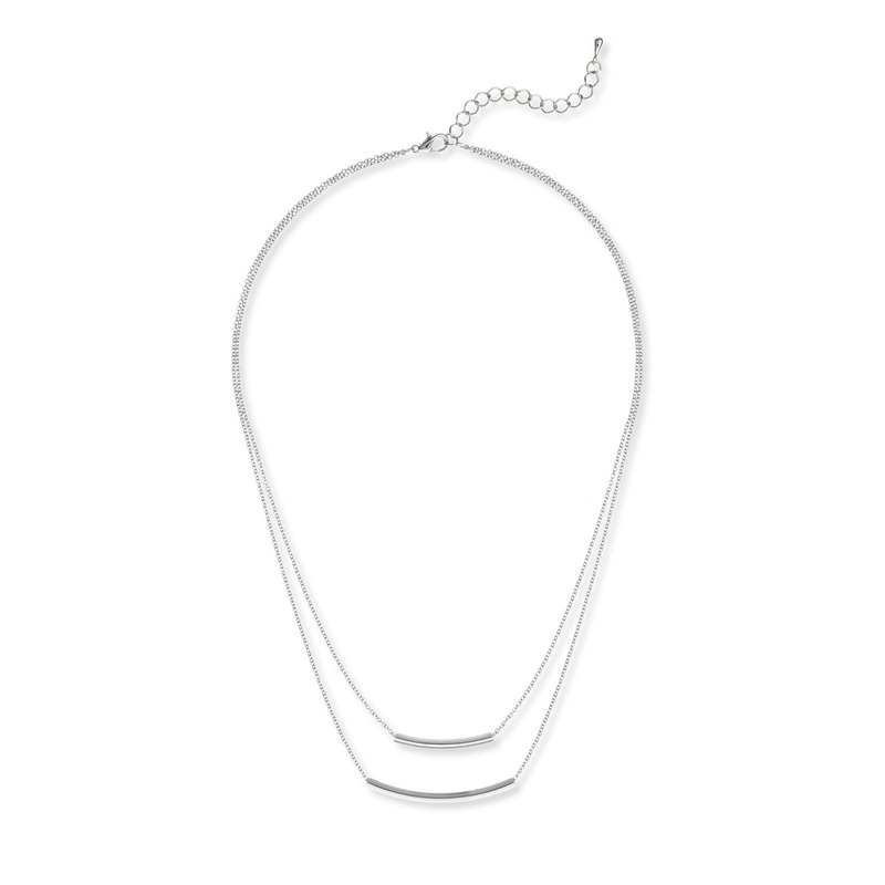 Jill Michael Double Bar Necklace in Silver