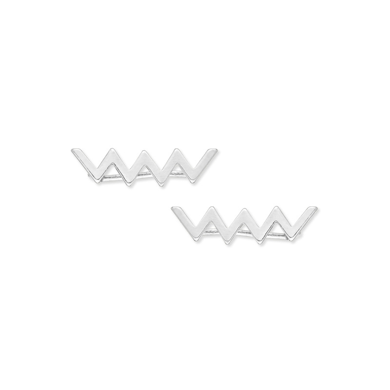 Urban Gem Zig Zag Ear Climbers in Silver