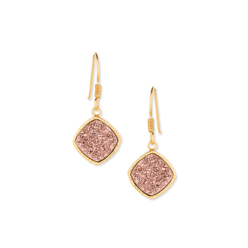 Elise M Phoebe Druzy Earrings in Rose Gold