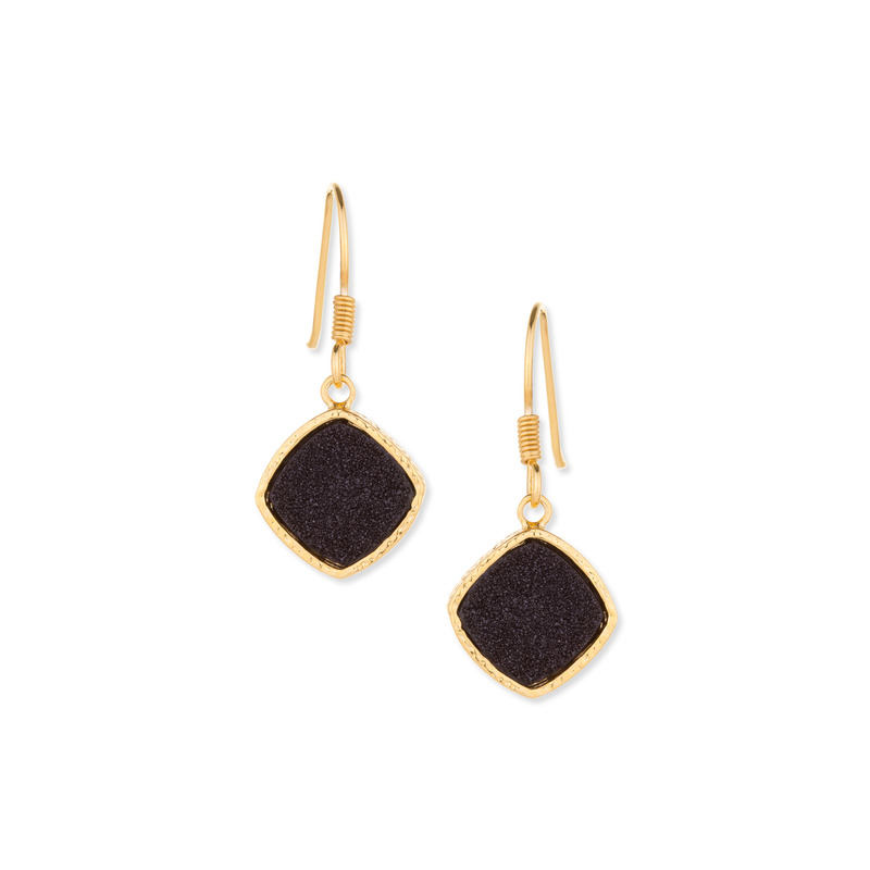 Elise M Phoebe Earrings in Black Druzy