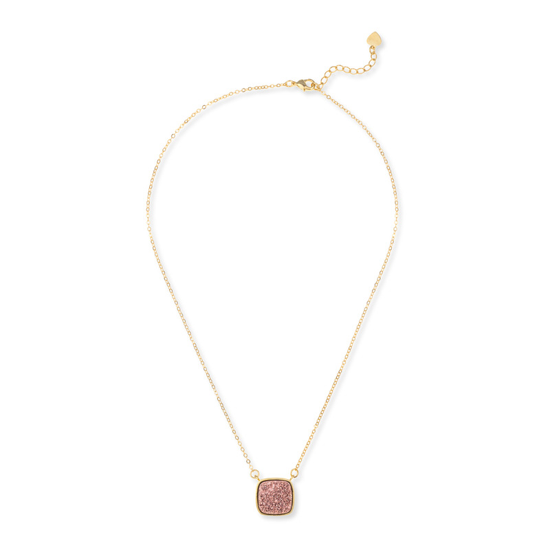 Elise M Athena Necklace in Rose Gold Druzy