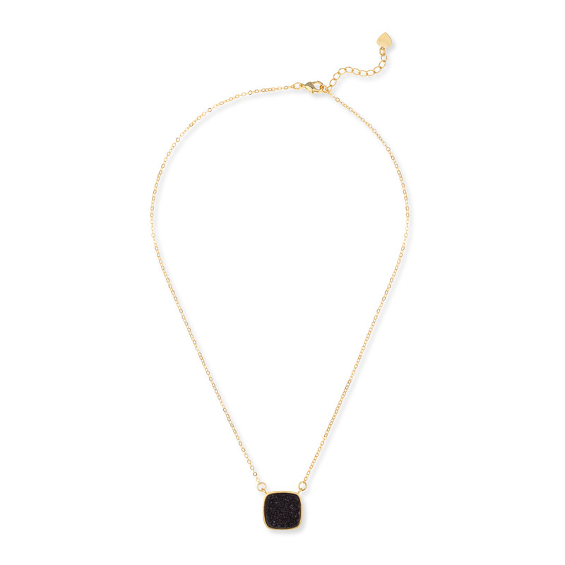 Elise M Athena Necklace in Black Druzy