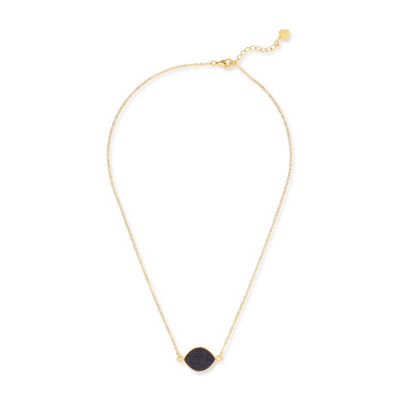 Elise M Iris Necklace in Black Druzy