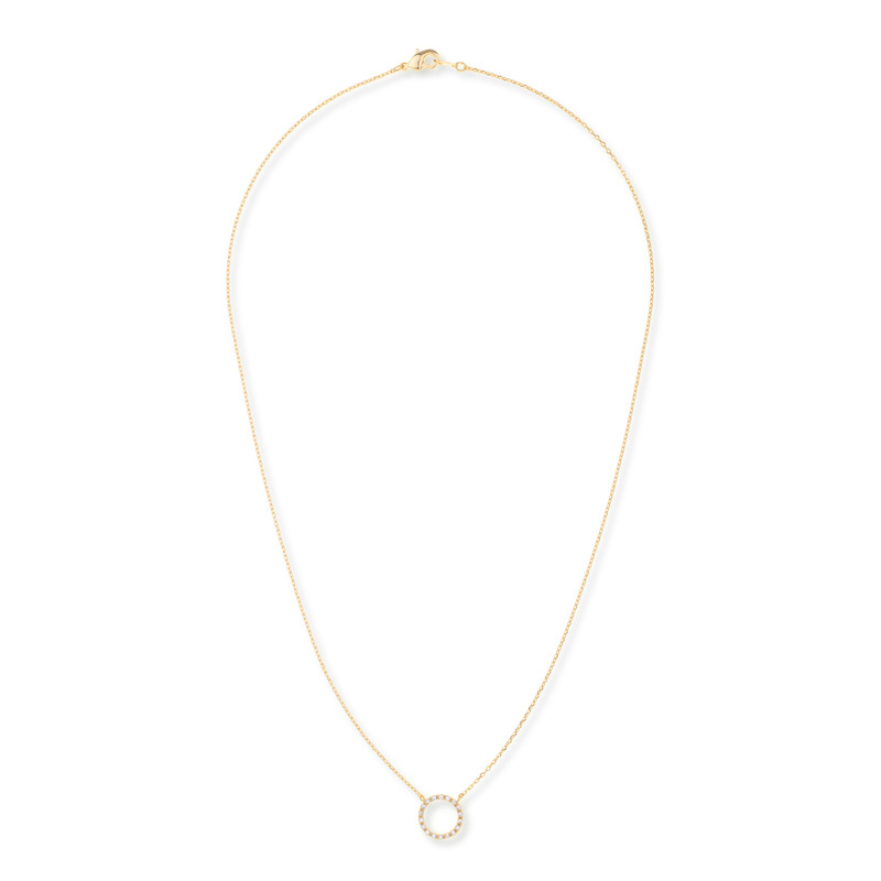 Wanderlust + Co Frame-Circle Crystal Necklace in Gold