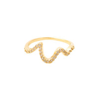 Wanderlust + Co Wave Crystal Ring in Gold