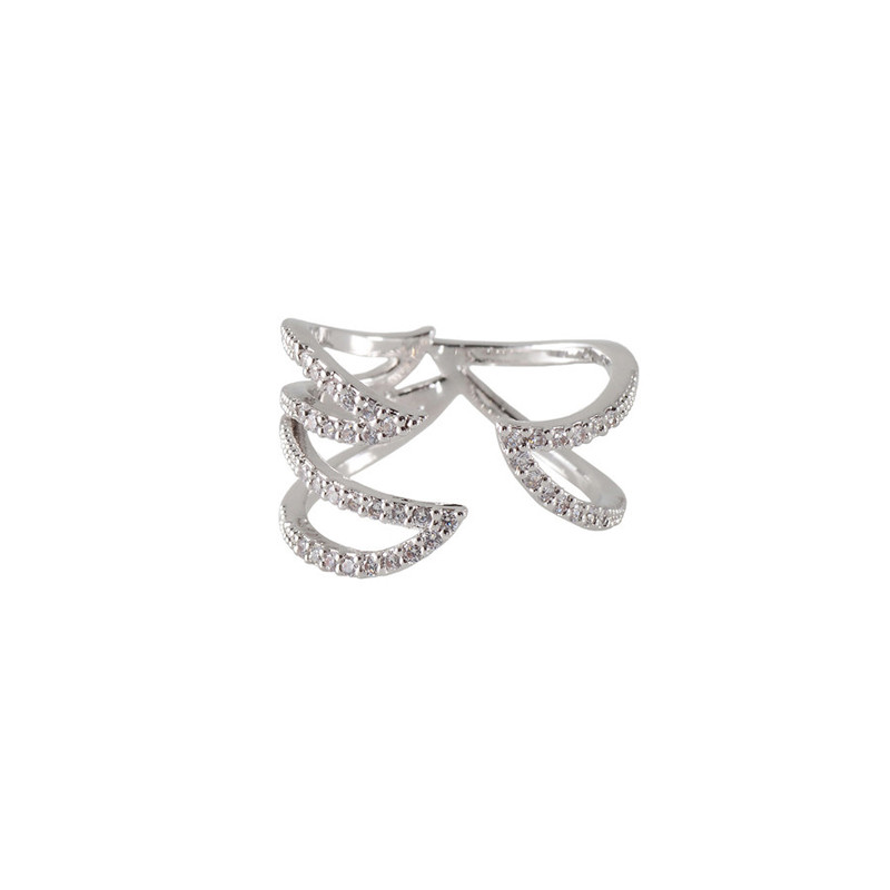 Wanderlust + Co Claw Pave Ring in Silver