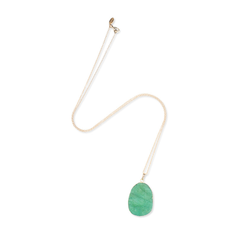 Ashiana London Charlie Druzy Pendant Necklace in Green