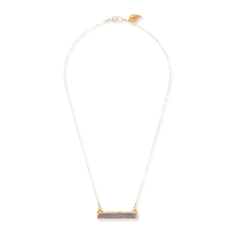 Robyn Rhodes Stella Druzy Bar Necklace in Grey