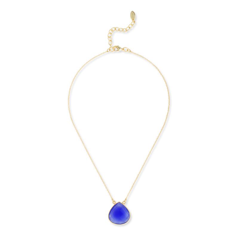 Ashiana London Denim Blue Chalcedony Pendant Necklace