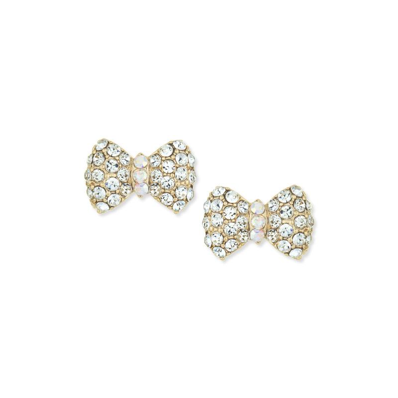 a.v. max Rhinestone Bow Earrings in Gold