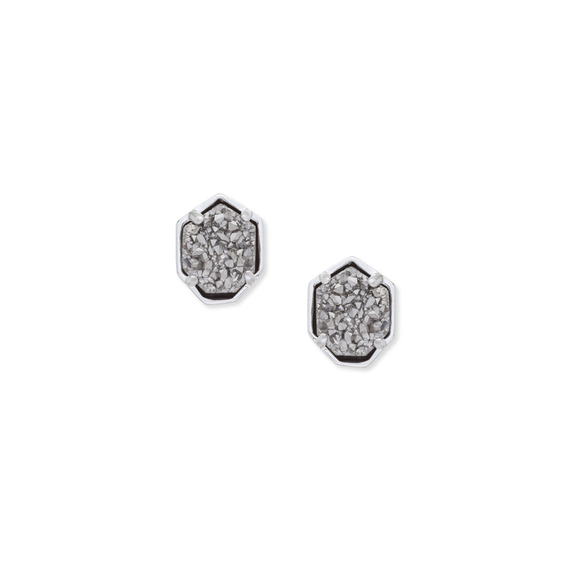 Kendra Scott Logan Silver Earring in Platinum Drusy