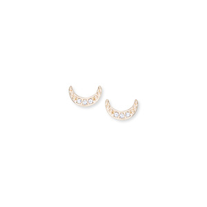 Sophie Harper Pavé Moon Studs in Gold