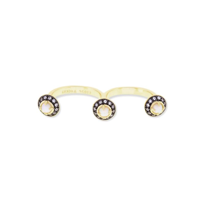 Kendra Scott Odette Double Ring in White Kyocera Opal