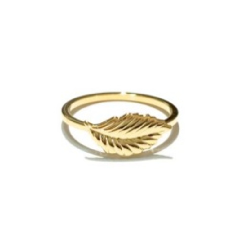 ECRU Metal Feather Ring in Gold