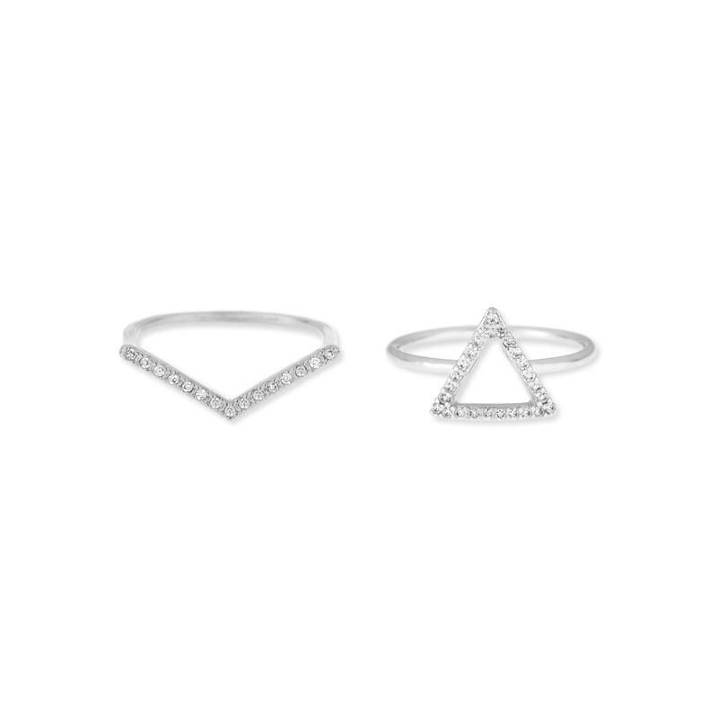 Wanderlust + Co Frame-Tri & V-Bar Crystal Ring Set in Silver
