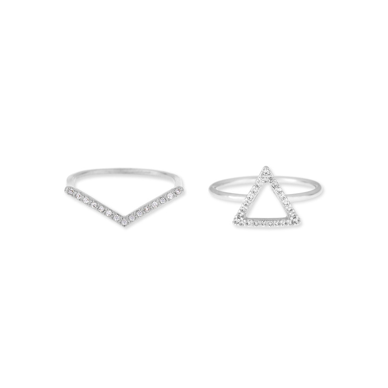 Wanderlust + Co Frame-Tri & V-Bar Crystal Ring Set in Silver