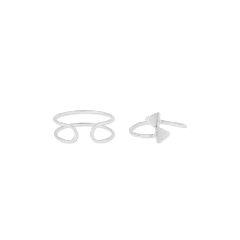 Wanderlust + Co Double Bar & Tri-Split Ring Set