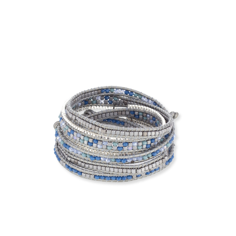 Nakamol Blue Mixed and Silver Wrap Bracelet