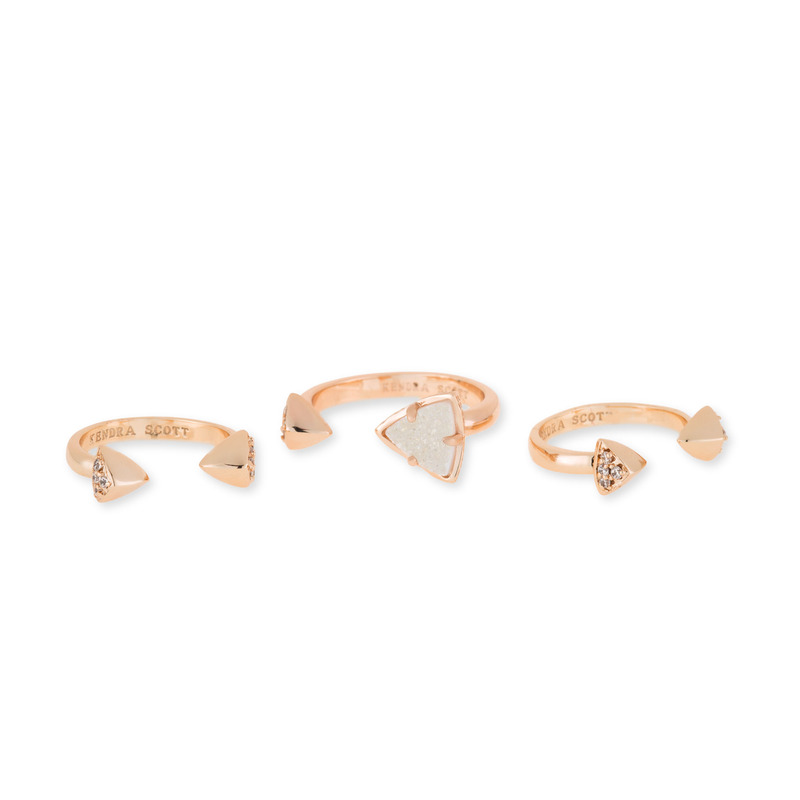 Kendra Scott Brennan Ring Set in Rose Gold Iridescent Drusy