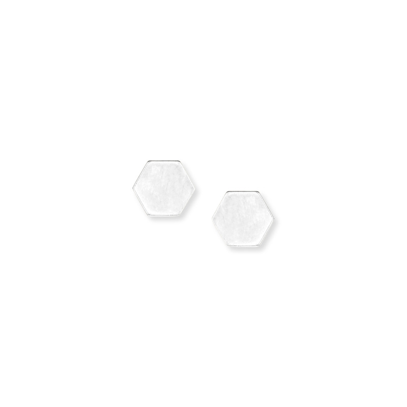 Kris Nations Hexagon Stud Earrings in Silver