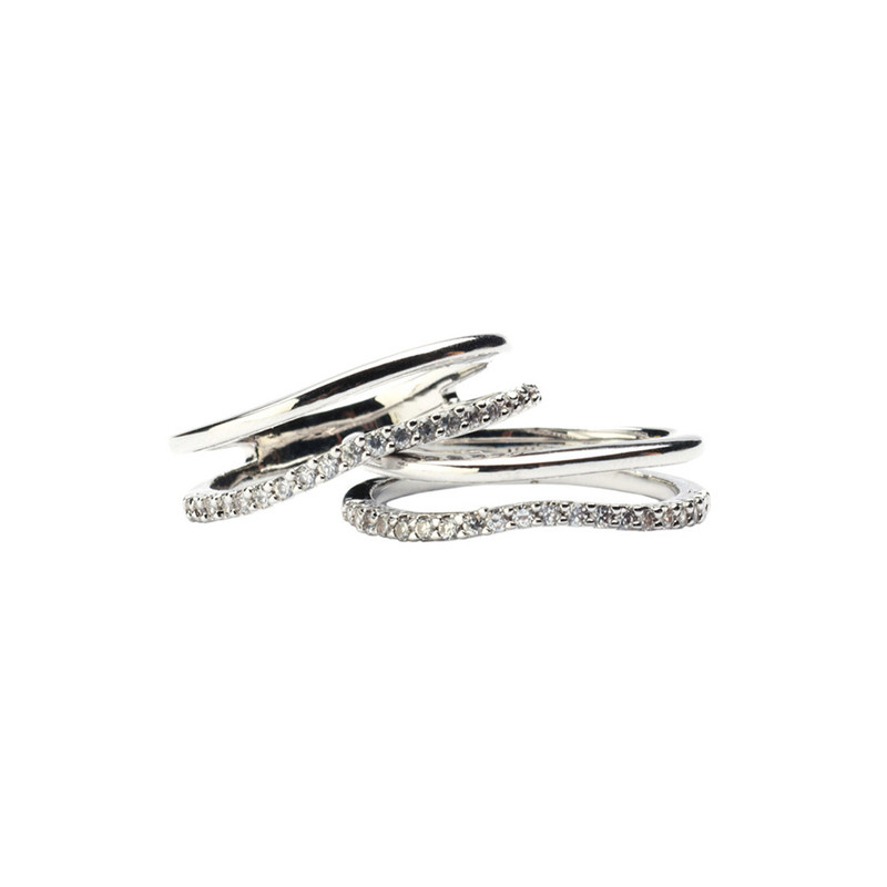Wanderlust + Co Crystal & Bar Stack Silver Rings