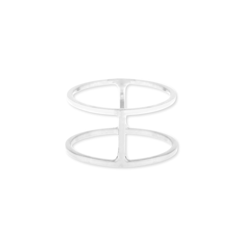 Sophie Harper Double Bar Ring in Silver