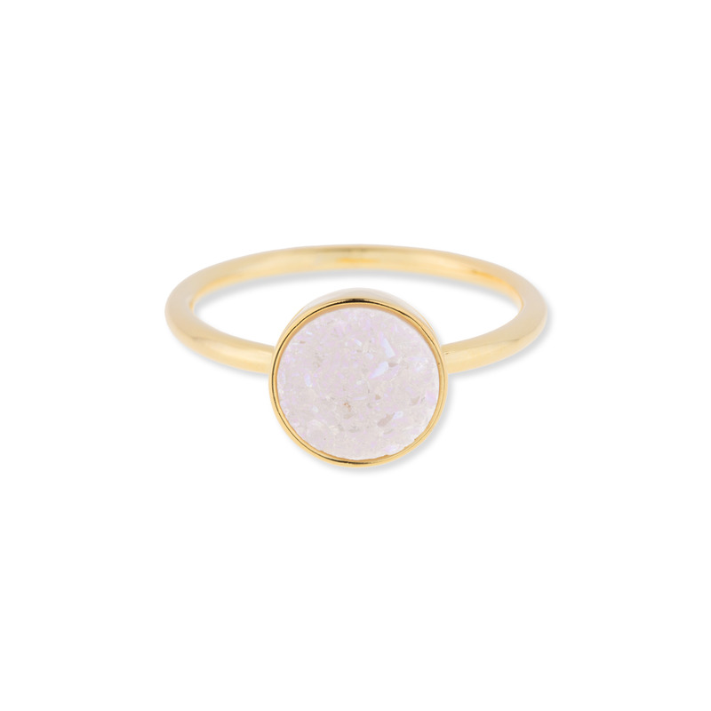 Leslie Francesca Circle Druzy Ring in Iridescent