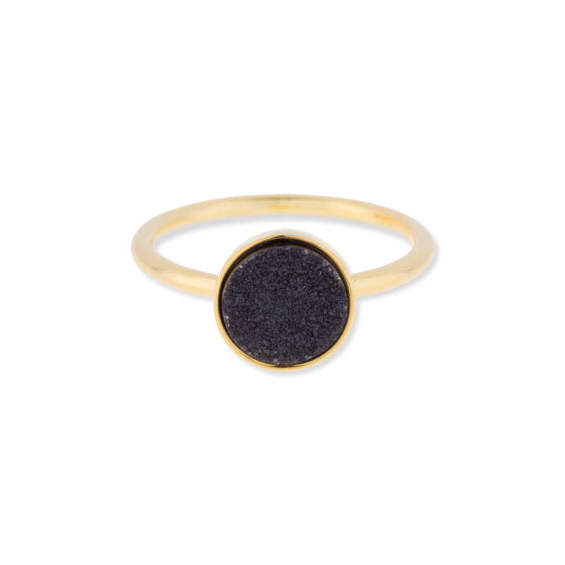 Leslie Francesca Circle Druzy Ring in Black