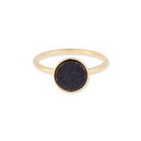 Leslie Francesca Circle Druzy Ring in Black