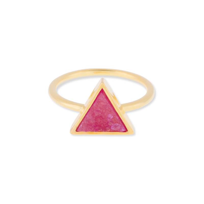 Leslie Francesca Triangle Druzy Ring in Pink