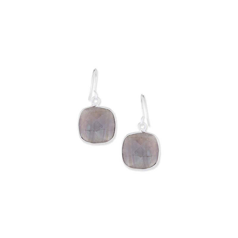 Bella Boutique Ruth Cushion Station Earrings in Silver Labradorite