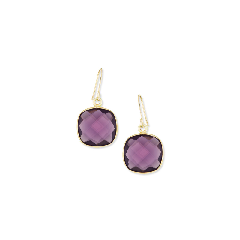 Bella Boutique Ruth Cushion Station Earrings in Amethyst