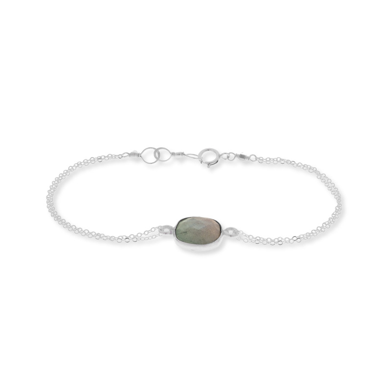 Bella Boutique Ruth Double Chain Station Bracelet in Silver Labradorite