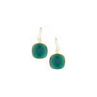 Bella Boutique Ruth Cushion Station Earrings in Green Onyx