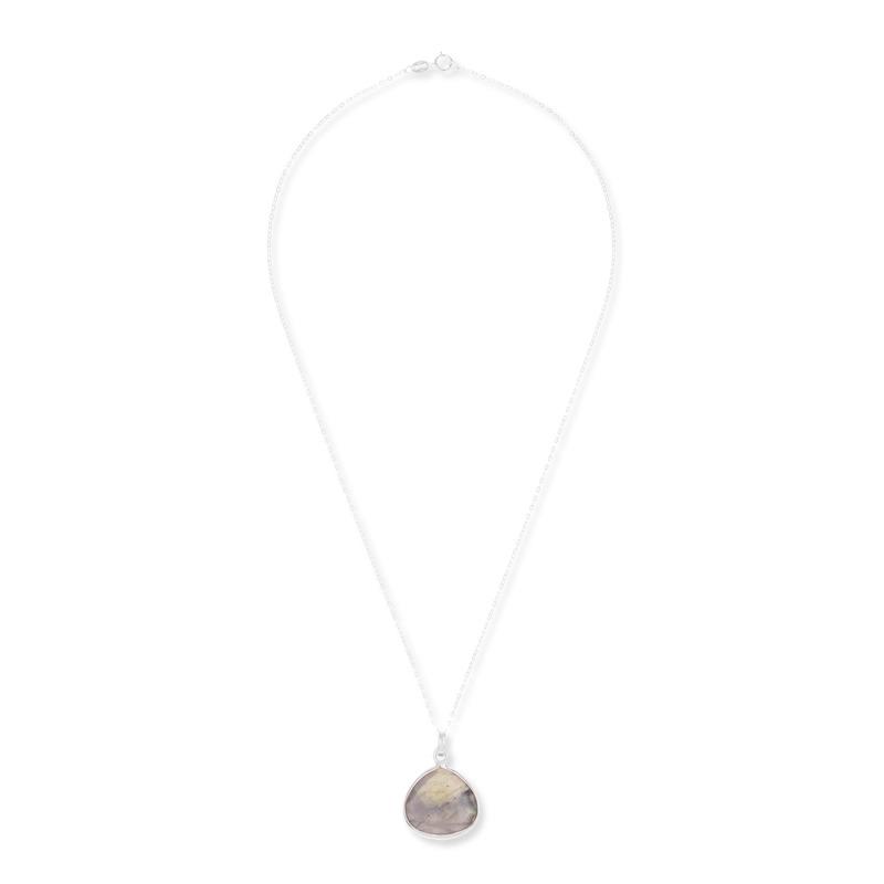 Bella Boutique Diana Heart Pendant in Silver Labradorite
