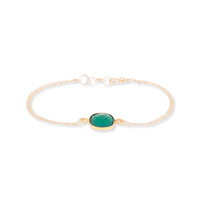 Bella Boutique Ruth Double Chain Station Bracelet in Green Onyx