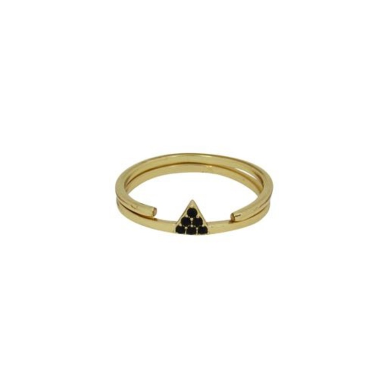 Jules Smith Two Part Pave Tri Ring Set in Gold/Black