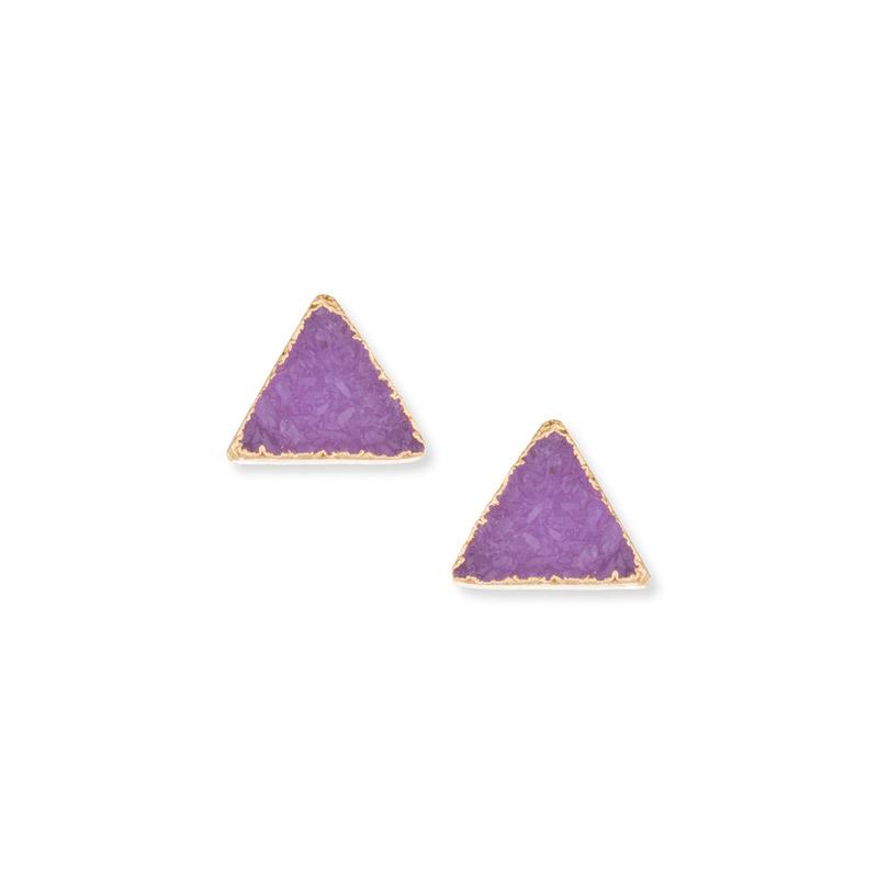 Leslie Francesca Triangle Druzy Studs in Fuchsia