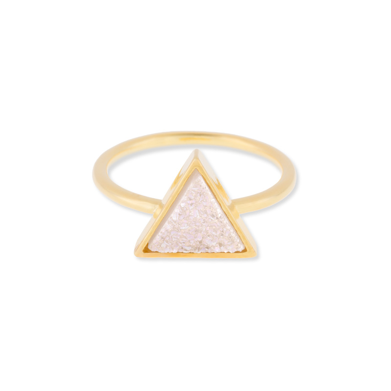 Leslie Francesca Triangle Druzy Ring in Iridescent