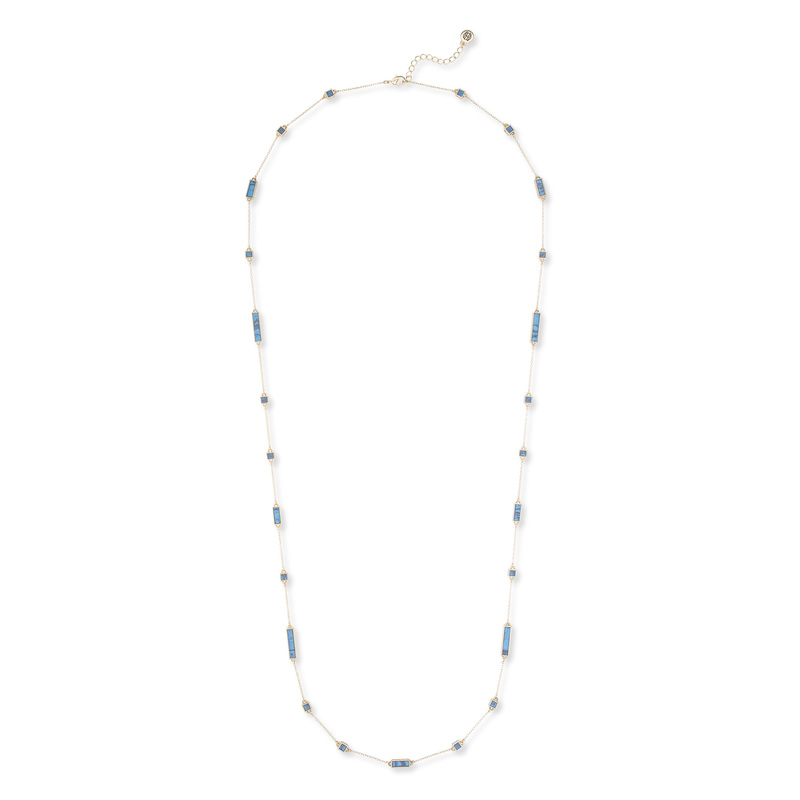 House of Harlow 1960 Long Rains Station Necklace in Turquoise