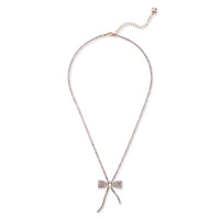 Sharp 9 Bow Necklace in Antique Gold