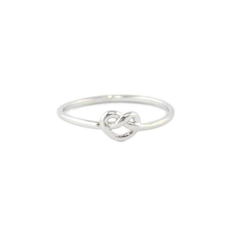 Wanderlust + Co Heart Pretzel Ring in Silver