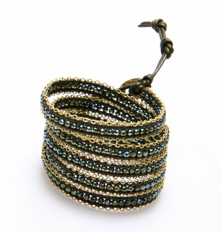 Nakamol Mixed Crystals Dark Green & Gold Wrap Bracelet