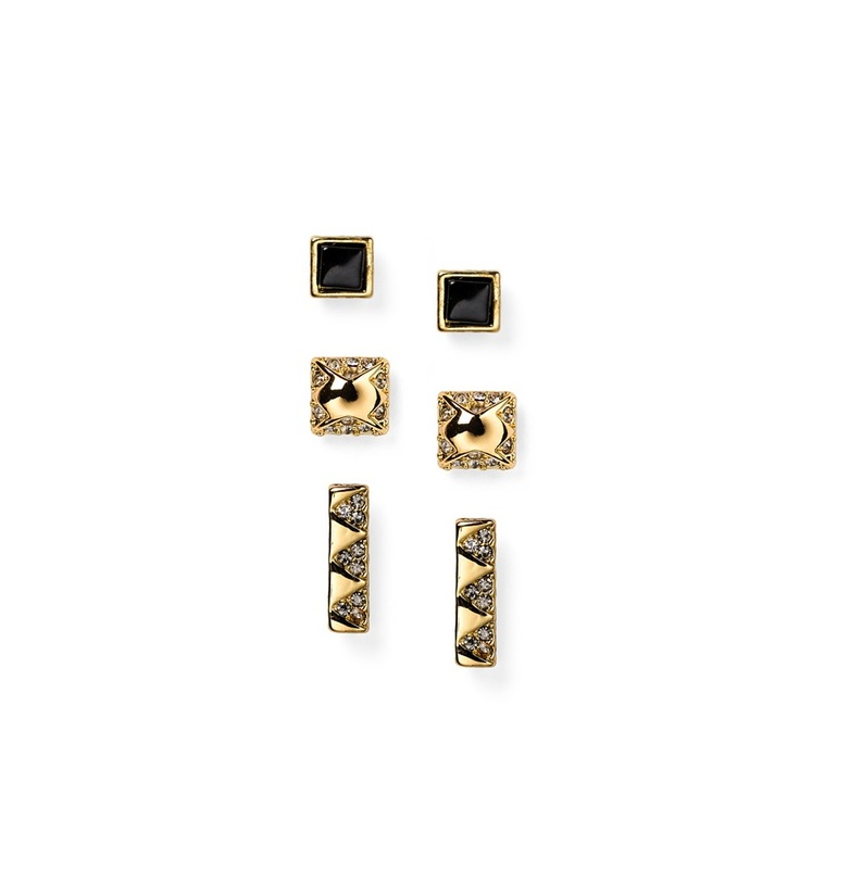 House of Harlow 1960 Plateau Bar Studs in Black & Gold