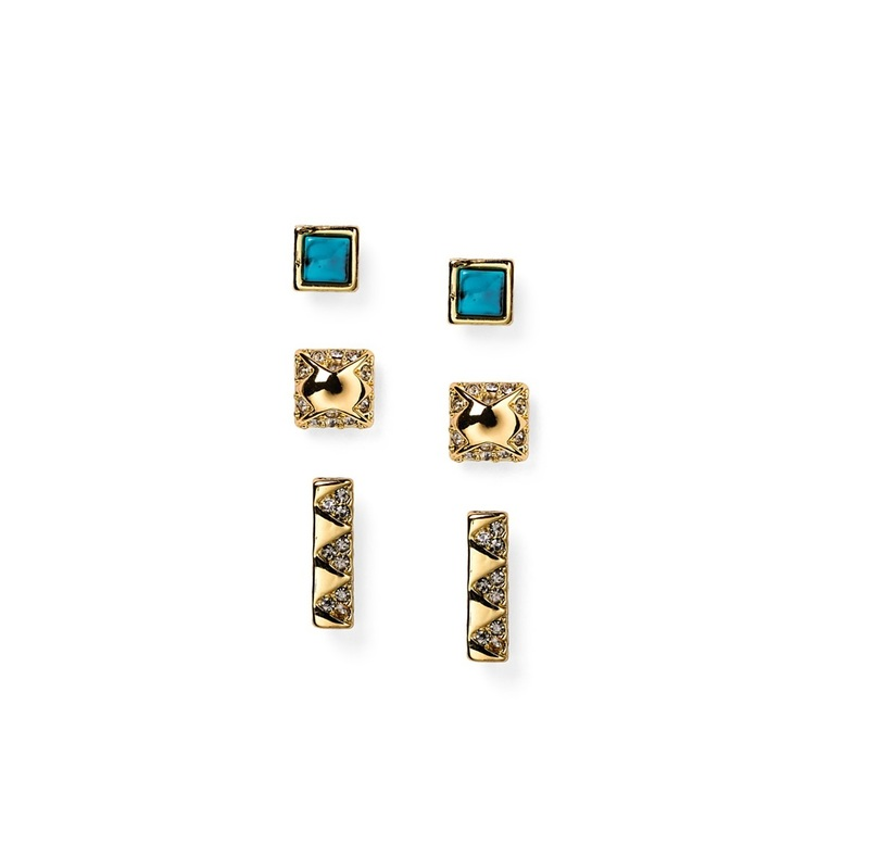 House of Harlow 1960 Plateau Bar Studs in Gold & Turquoise