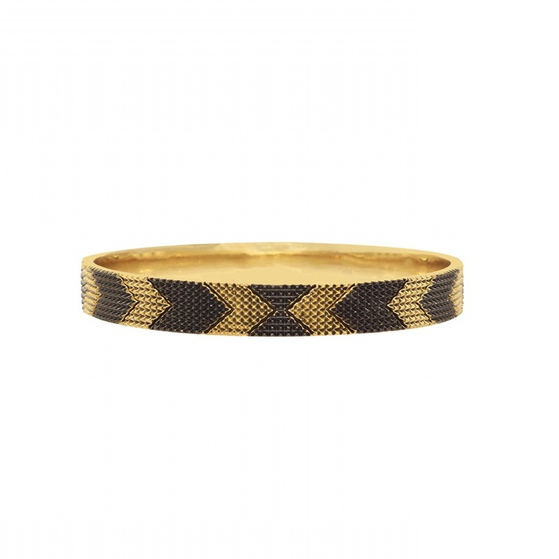 House of Harlow 1960 Thin Arrow Bangle in Black and Gold