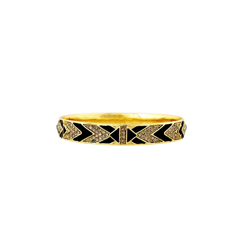 House of Harlow 1960 Braided Pavé Bangle in Black