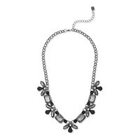 Sharp 9 Crystal Flower Necklace in Gunmetal